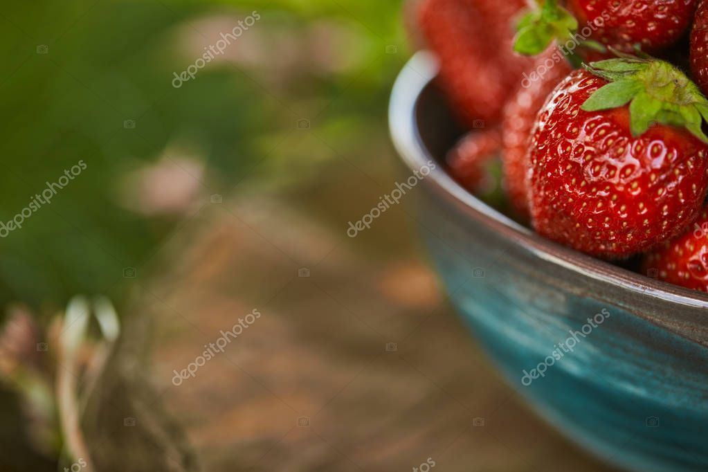 selective focus of fresh strawberries in bowl on stump