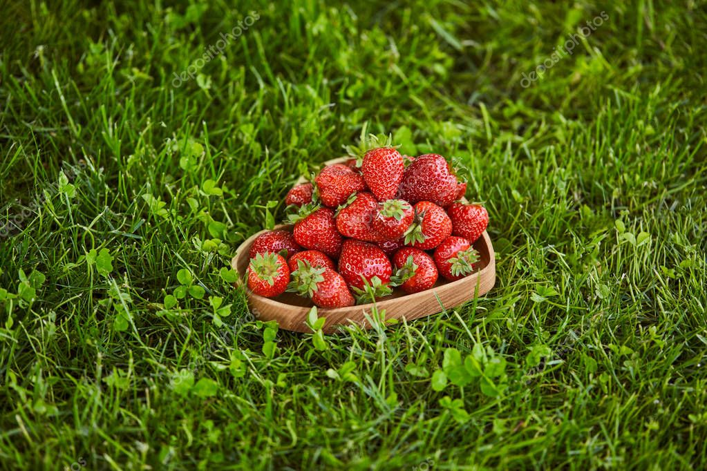 red strawberries in wooden heart shaped plate on green grass