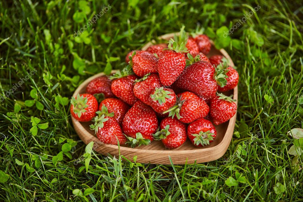 fresh strawberries in wooden heart shaped plate on green grass
