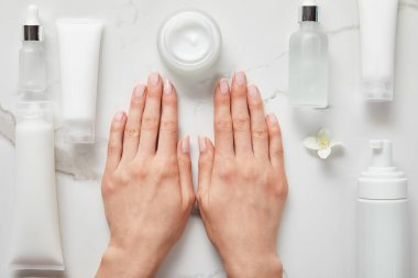 cropped view of woman hands near cosmetic glass bottles, jar with cream, moisturizer tubes, dispenser and jasmine on white surface
