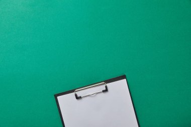 Folder with blank paper isolated on green stock vector