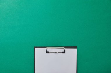 Top view of folder with blank paper isolated on green isolated on green stock vector