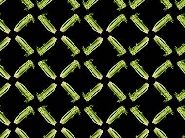 Green organic leek isolated on black, seamless background pattern stock vector