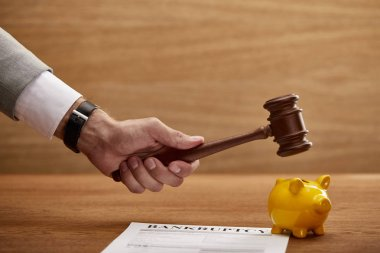 cropped view of man holding wooden gavel above yellow piggy bank near bankruptcy form