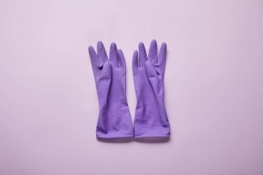 Top view of bright and colorful rubber gloves on purple background stock vector