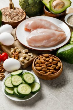 fresh raw chicken breasts on white plate near nuts, eggs and green vegetables, ketogenic diet menu