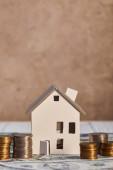 model domu na dolarových bankovkách v blízkosti mincí, koncept nemovitostí