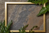 leerer goldener Rahmen auf Steinhintergrund mit Kopierraum und Farnblättern