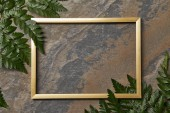 pohled na prázdný zlatý rám na kamenném pozadí s prostorem pro kopírování a listy kapradí