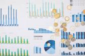 az asztalon lévő grafikonokkal és érmékkel ellátott papírok felülnézete