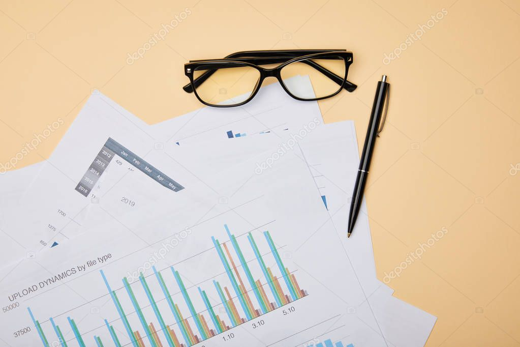 Top view of papers, pen and glasses on table stock vector