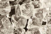 close up view of transparent cool ice cubes
