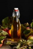 Fotografie fresh homemade cider in bottle near ripe apples and leaves on wooden surface isolated on black