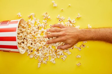 Cropped view of man putting hand on delicious popcorn on yellow background stock vector