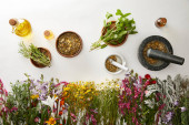 top view of mortars and pestles with herbal blends near flowers and bottles on white background