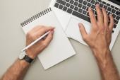 vágott kilátás az ember használja laptop, miközben ceruza közelében notebook elszigetelt szürke