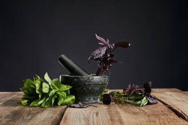 mortar with pestle near fresh green and purple basil on wooden table isolated on black