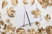 top view of golden foliage around blank notebook with pencil on white background