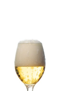 Wet glass of beer with white foam isolated on white stock vector