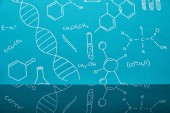 Photo blue background with molecular structure signs