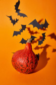 Photo pumpkin and paper bats with shadow on orange background, Halloween decoration