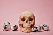 Photo spooky skulls on pink background, Halloween decoration