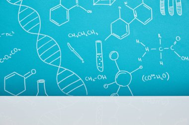 Blue background with molecular structure signs near white surface stock vector