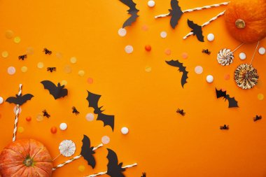 Top view of pumpkin, bats and spiders with confetti on orange background, Halloween decoration stock vector