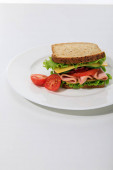 fresh sandwich with lettuce, ham, cheese, bacon and tomato on plate on white background