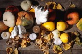 top view of dry foliage, burning candles, ripe pumpkin and decorative hands on wooden rustic table