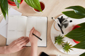 cropped view of woman writing in notebook near green plants, cup of tea on wooden surface