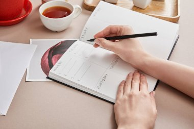 Cropped view of woman writing in planner near cup of tea on beige surface stock vector