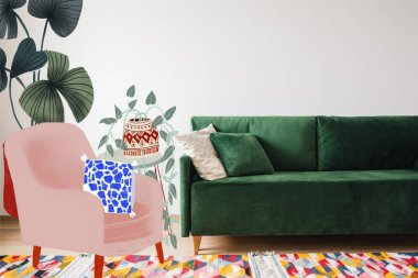 Modern green sofa and pillows in living room with colorful rug near drawn armchair and plants illustration stock vector