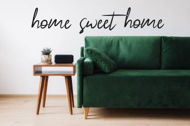 Green sofa, pillow, wooden coffee table with plant and alarm clock near home sweet home lettering stock vector