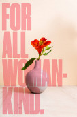 Photo Alstroemeria in vase near for all woman-kind lettering on beige
