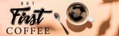 top view kávéscsésze és teáskanál bézs, de az első kávé felirat, website header