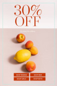 fruit composition with lemon and apricots near thirty percent off lettering on beige and white