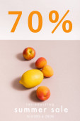 fruit composition with lemon and apricots near summer sale, in stores and online lettering on beige and white
