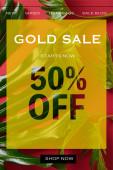 vrchní pohled na tropické zelené listy na červeném pozadí s zlatem prodej ilustrace