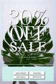 čerstvé tropické zelené listy na bílém pozadí s prodejem ilustrace