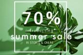 friss trópusi levél zöld háttér nyári eladási illusztráció