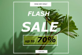 frische tropische grüne Blätter auf grünem Hintergrund mit Blitz-Verkauf Illustration