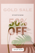 fresh tropical green leaves on pink background with gold sale illustration