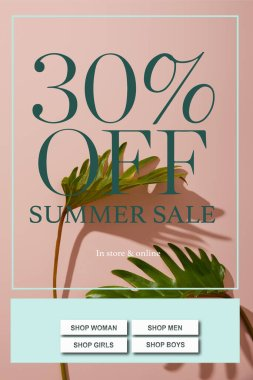 Fresh tropical green leaves on pink background with summer sale illustration stock vector