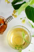 fresh linden tea with honey and lemon