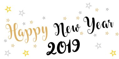 2019 hand written lettering with golden Christmas stars on a black background. Happy New Year card design. Vector illustration EPS.