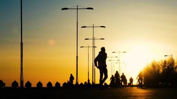 Silueta muže na kole na koni v parku při západu slunce