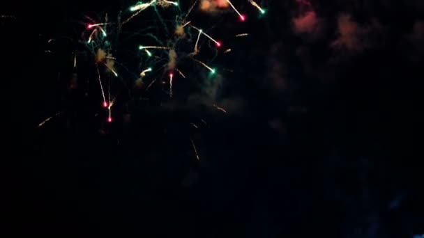 Colorful fireworks and beautiful flashes of light on the holiday, pyrotechnic show