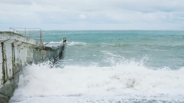 Really Big Storms Start Out Slow And >> Storm In The Sea Big Waves Beat On The Pier Slow Motion Stock