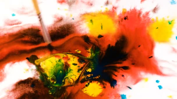 Psychoelic Abstraktion Pinsel malt Muster in Aquarell auf nassem Papier, hellen Flecken der bunten Farben